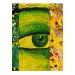 El ojo - conciencia del oro y de la esmeralda tarjetas postales