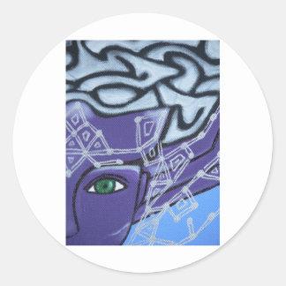 El ojo de la protección pegatina redonda