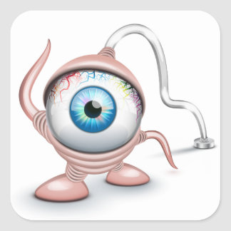 El ojo del Cyclope tapado Calcomania Cuadradas Personalizadas