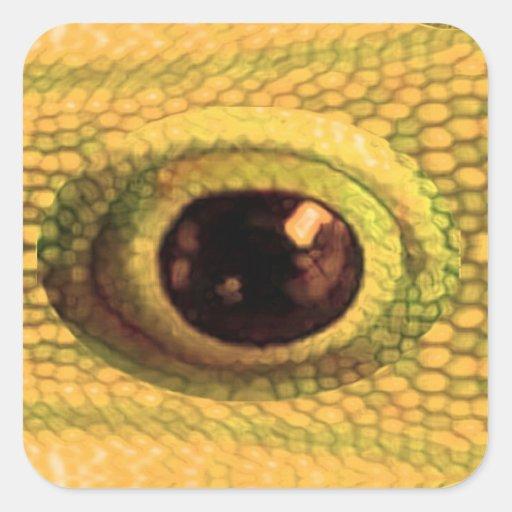 El ojo del DRAGÓN - arte chino de oro Calcomanias Cuadradas