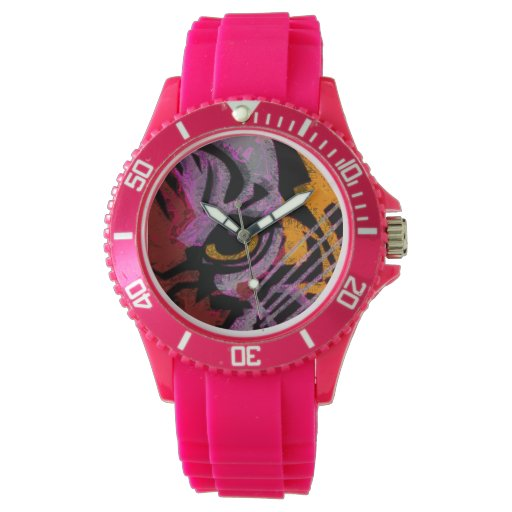 El ojo del tigre colorido enrrollado reloj de mano