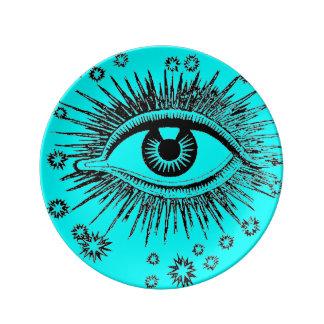 El ojo le ve arte gráfico impar extraño místico de plato de cerámica