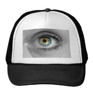 El ojo mira a la macro del concepto del espectador gorros bordados
