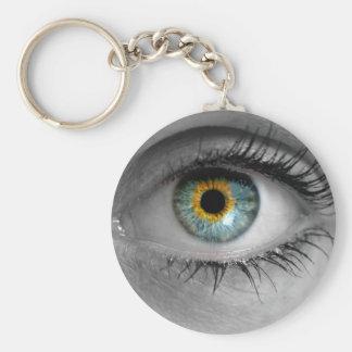 El ojo mira a la macro del concepto del espectador llavero redondo tipo pin