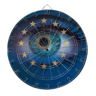 El ojo mira con concepto del fondo de la bandera