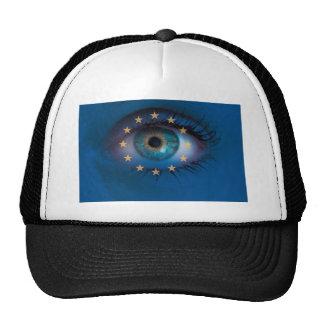 El ojo mira con concepto del fondo de la bandera gorro de camionero