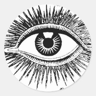 El ojo místico ve todo el ICU Etiquetas Redondas