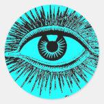 El ojo místico ve todo el ICU Pegatina Redonda