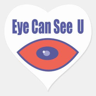 El ojo puede ver el U. Pegatina En Forma De Corazón
