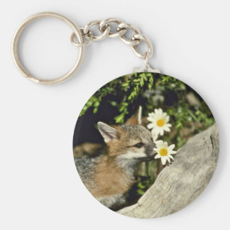 El oler Fox-joven gris/que come del equipo la flor Llaveros Personalizados