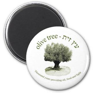 El olivo, mil años que proporcionan el aceite, com imán redondo 5 cm