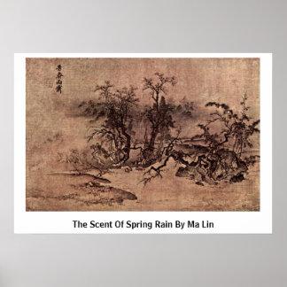 El olor de la lluvia de primavera por mA Lin Póster