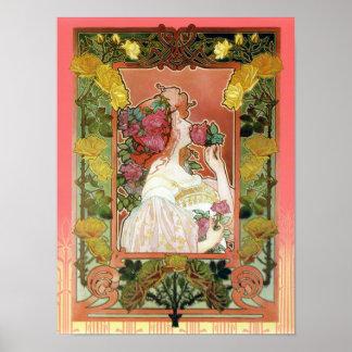 El olor de un color de rosa - poster de Nouveau de