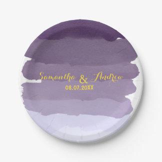 El ombre púrpura de la acuarela de la lavanda raya plato de papel de 7 pulgadas