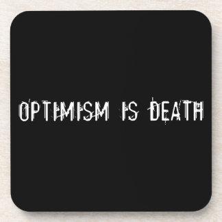 El optimismo es muerte posavasos de bebidas