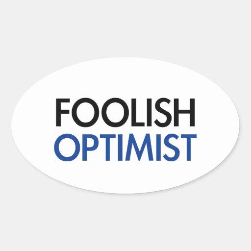 El optimista absurdo pegatinas oval personalizadas