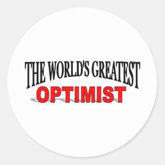 El optimista más grande del mundo pegatina redonda