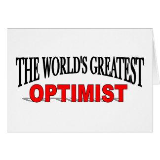 El optimista más grande del mundo tarjeta de felicitación