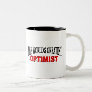 El optimista más grande del mundo taza de dos tonos