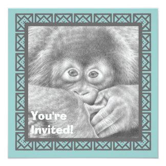 El orangután lindo del bebé embroma la invitación