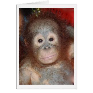 El orangután más lindo del bebé, gran mono de tarjetón