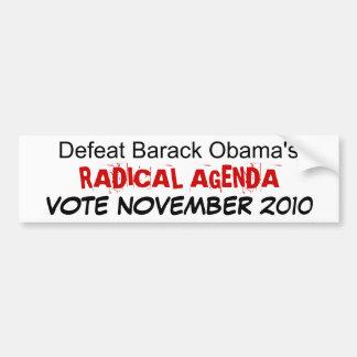 El ORDEN DEL DÍA RADICAL de Barack Obama de la der Pegatina De Parachoque