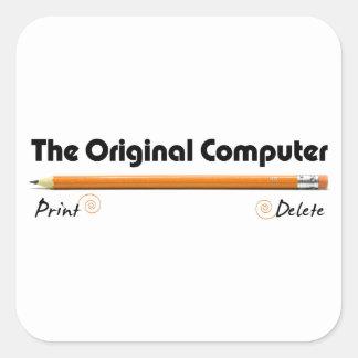 El ordenador original calcomania cuadradas