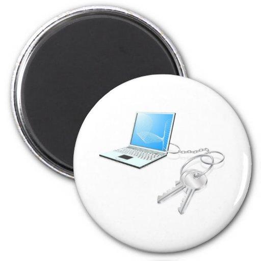 El ordenador portátil cierra concepto del acceso imanes