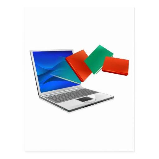 El ordenador portátil reserva la educación o el postal