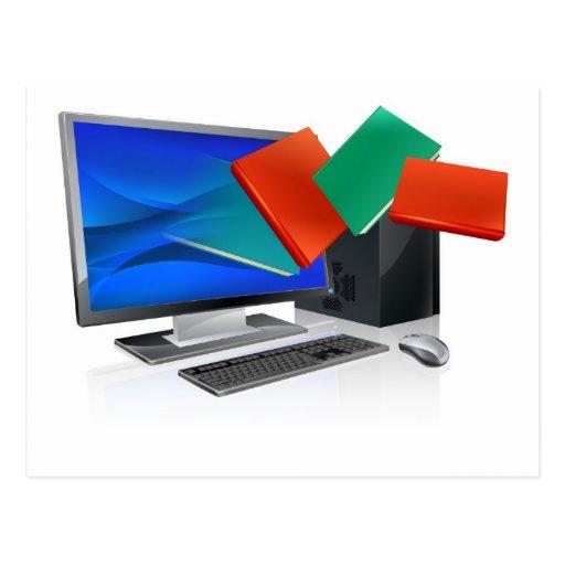 El ordenador reserva la educación o el concepto de tarjeta postal