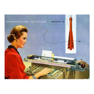 El ordenador retro del kitsch del vintage es el postal