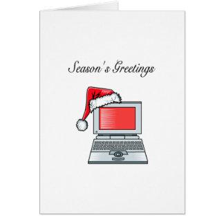El ordenador sazona saludos tarjeta de felicitación