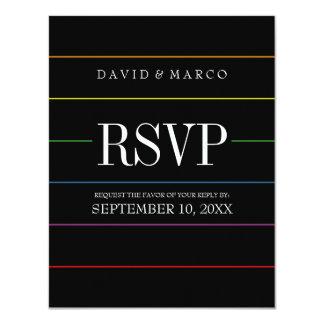 """El orgullo de la tela a rayas colorea el boda gay invitación 4.25"""" x 5.5"""""""