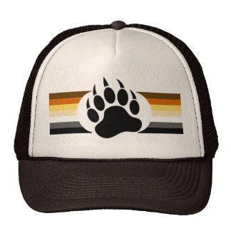 El orgullo del oso colorea rayas y la pata de oso gorras de camionero