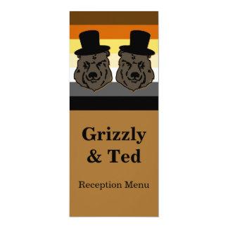 El orgullo del oso lleva la tarjeta gay del menú invitación 10,1 x 23,5 cm