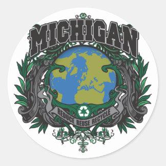El orgullo recicla Michigan Pegatina Redonda