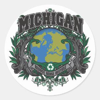 El orgullo recicla Michigan Etiqueta Redonda