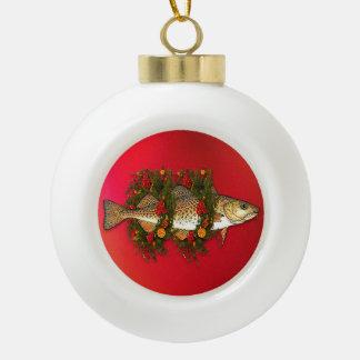 El ornamento de cerámica de la bola del bacalao de adorno