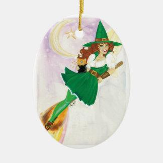 El ornamento de hadas afortunado adorno navideño ovalado de cerámica