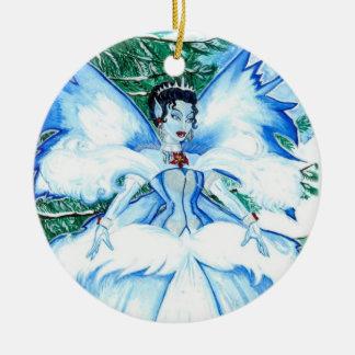El ornamento de la reina de la nieve adorno navideño redondo de cerámica