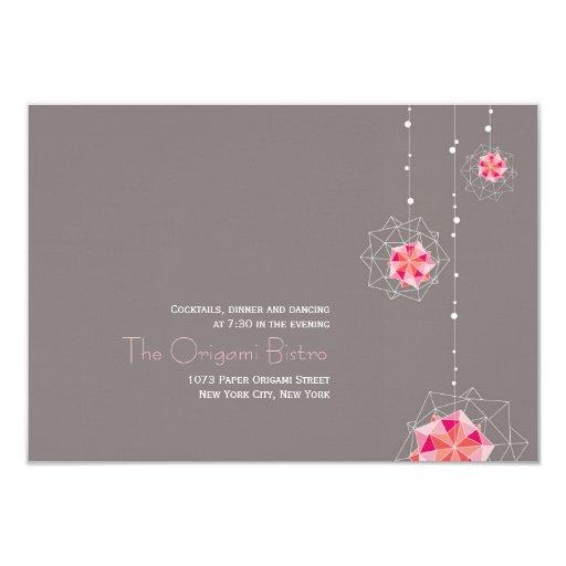 """El ornamento de Origami enciende a la recepción Invitación 3.5"""" X 5"""""""