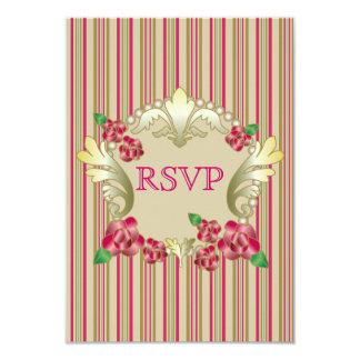 El ornamento de rubíes bonito del oro de los rosas invitación 8,9 x 12,7 cm