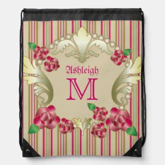 El ornamento de rubíes bonito del oro de los rosas mochilas