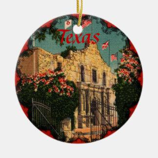El ornamento de Tejas del vintage de Álamo Adorno Navideño Redondo De Cerámica