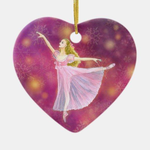 El ornamento del ballet del cascanueces - Clara Adorno Navideño De Cerámica En Forma De Corazón