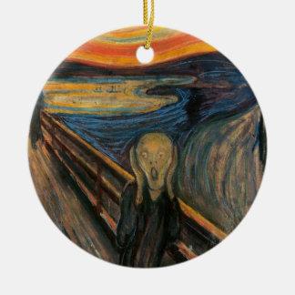 El ornamento del grito adorno navideño redondo de cerámica