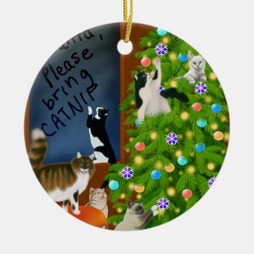 El ornamento del navidad de la familia de gato ornamentos de navidad