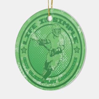 El ornamento del navidad de LaCrosse, vida es Adorno Navideño Redondo De Cerámica
