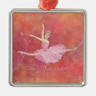 El ornamento del premio del ballet del cascanueces adorno cuadrado plateado