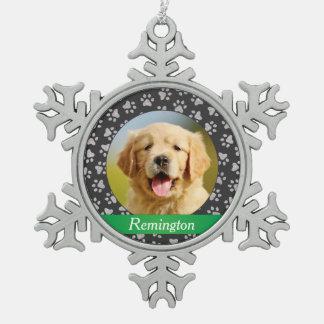 El ornamento el | de la foto personalizó al adorno de peltre en forma de copo de nieve